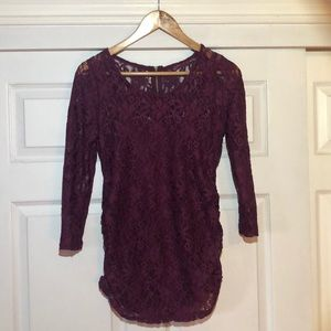 Maroon Lace Maternity Top